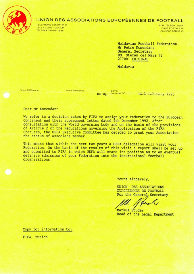UEFA lettr10 feb 1993